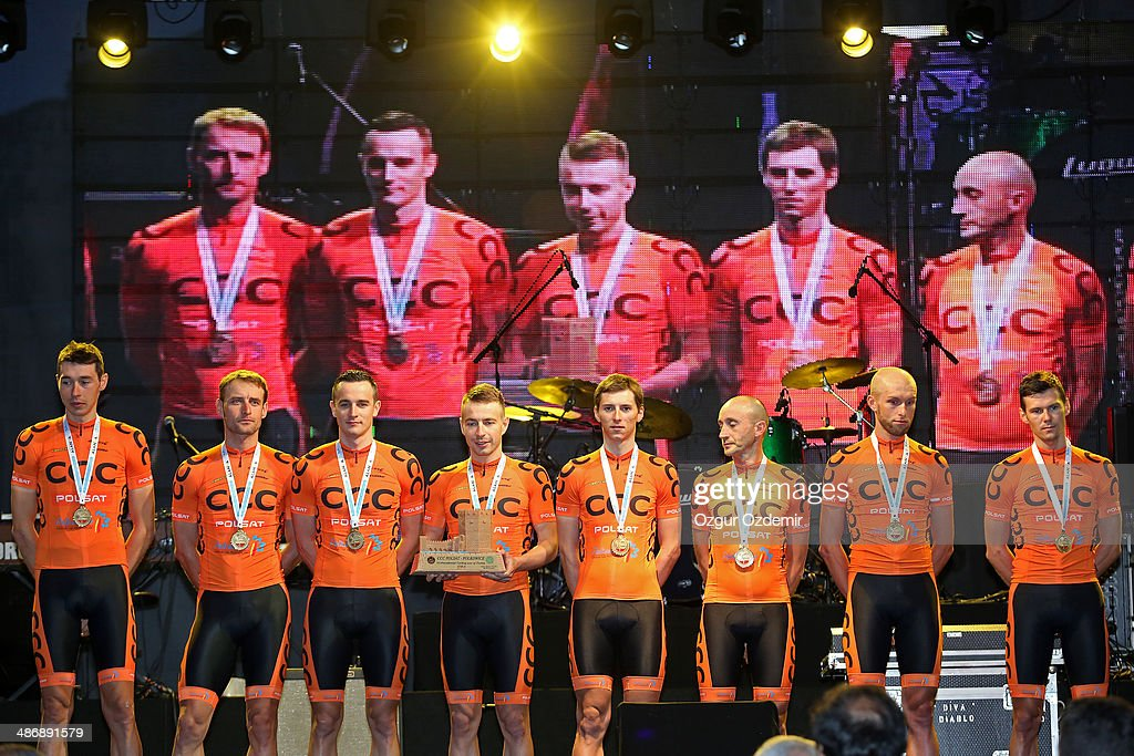 Polsat - Polkowice attends the opening ceremony of the 50th Presidential Cycling Tour at Alanya in the Mediterranean resort city of Antalya on April 26, 2014 in Antalya, Turkey. The Presidential Cycling Tour of Turkey will be held between April 27 and May 4.
