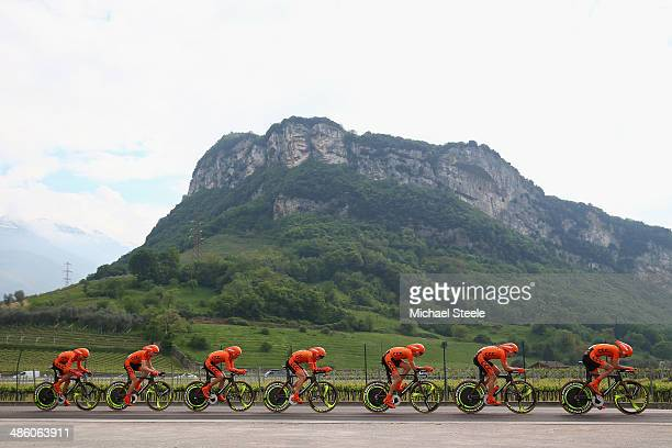 Polsat Polkowice team during the 134km team time trial from Riva del Garda to Arco on stage one of the Giro del Trentino on April 22 2014 in Arco...