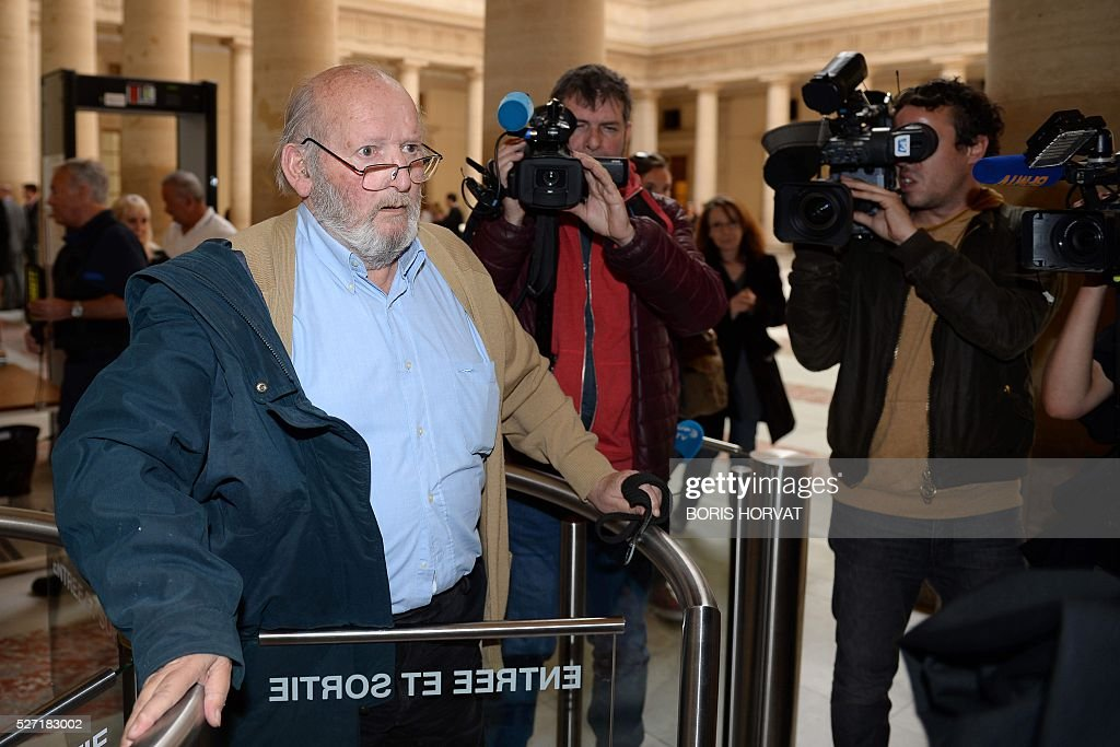 Poly Implant Prothese (PIP) founder Jean-Claude Mas arrives at the courthouse on May 2, 2016 in Aix-en-Provence, prior to his appeal trial, after having been sentenced in an initial trial to four years of imprisonment for allegedly selling faulty breast implants that sparked global health fears. France upholds jail term for Jean-Claude Mas on May 2, 2016. / AFP / BORIS