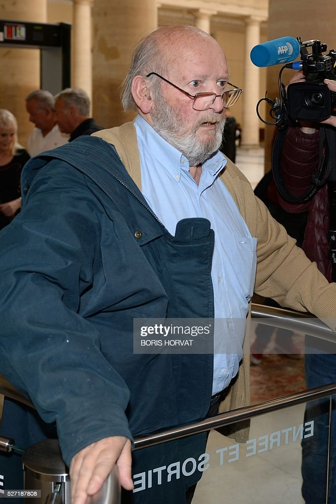 Poly Implant Prothese (PIP) founder Jean-Claude Mas (L) arrives at the courthouse on May 02, 2016 in Aix-en-Provence, prior to his appeal trial, after having been sentenced in an initial trial to four years of imprisonment for allegedly selling faulty breast implants that sparked global health fears. France upholds jail term for Jean-Claude Mas on May 2, 2016. / AFP / BORIS