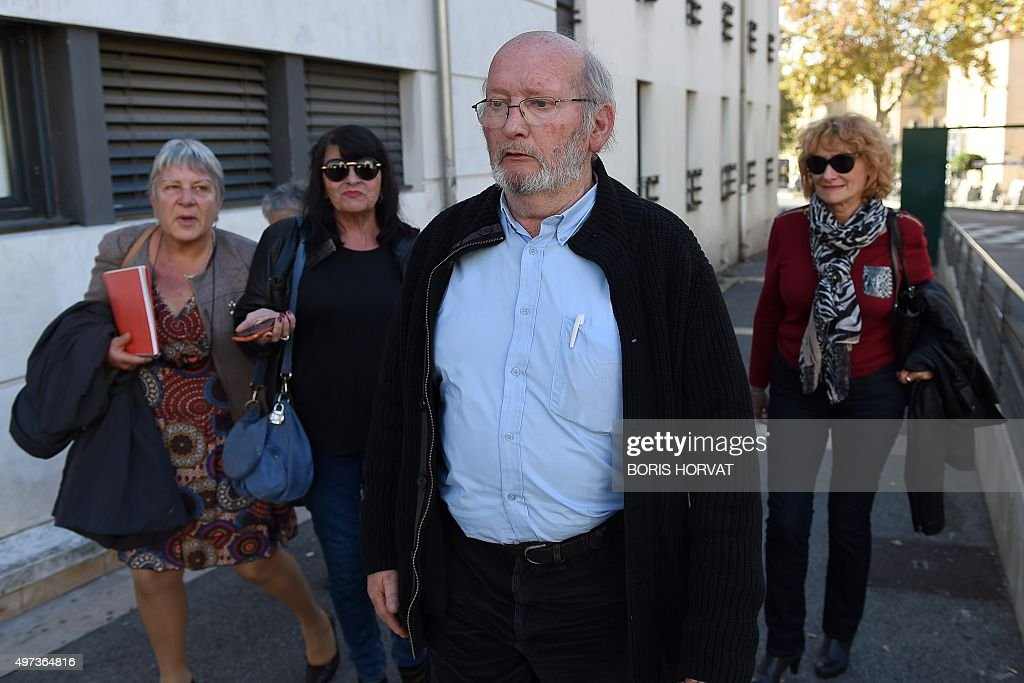 Poly Implant Prothese (PIP) founder Jean-Claude Mas (C) arrives to the courthouse on November 16, 2015 in Aix-en-Provence, for his appeal trial, after having been sentenced in an initial trial to four years of imprisonment for allegedly selling faulty breast implants that sparked global health fears. PIP company was shut down on March 2010 and its product banned after it was revealed to have been using non-authorised silicone gel that caused abnormally high rupture rates of its implants. AFP PHOTO / BORIS HORVAT