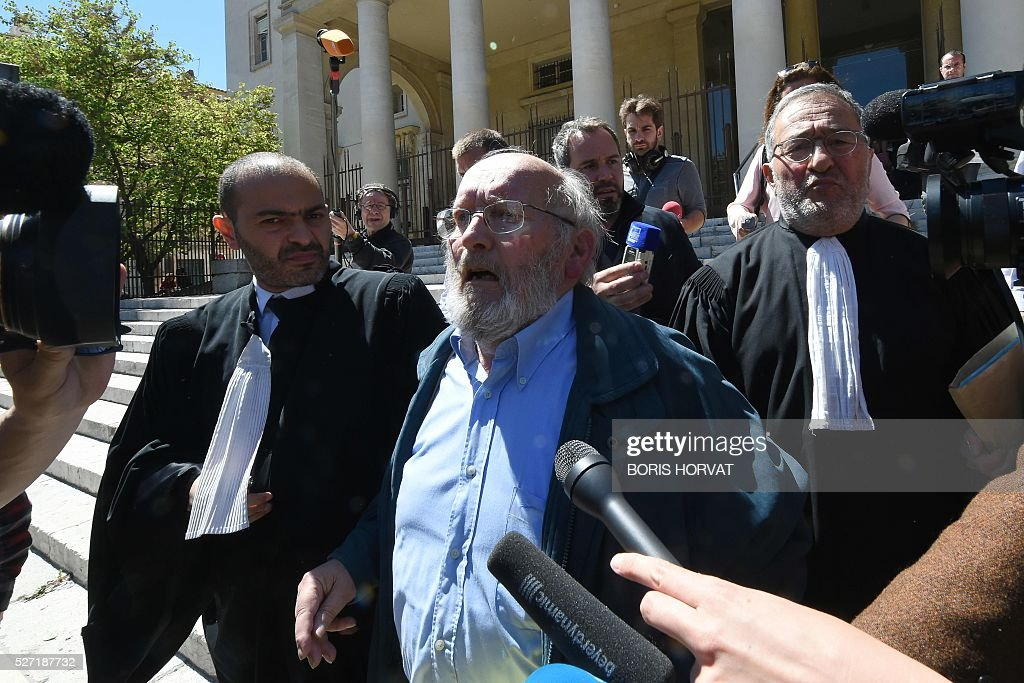 Poly Implant Prothese (PIP) founder Jean-Claude Mas (C) leaves the courthouse on May 2, 2016 in Aix-en-Provence, after his appeal trial for allegedly selling faulty breast implants that sparked global health fears. France upholds jail term for Jean-Claude Mas on May 2, 2016. / AFP / BORIS