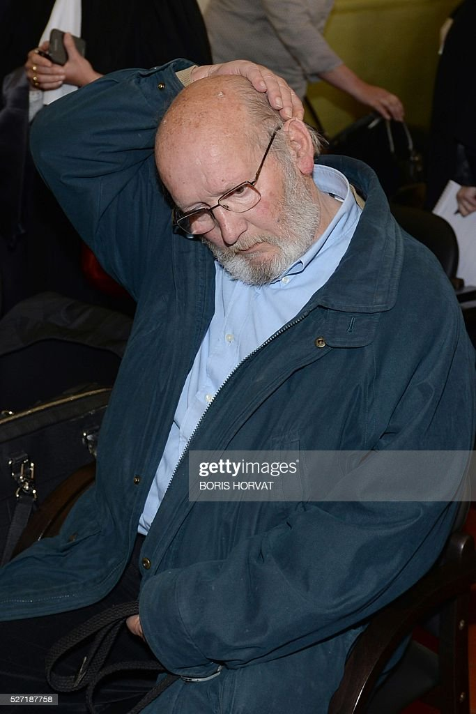 Poly Implant Prothese (PIP) founder Jean-Claude Mas (L) waits at the courthouse on May 02, 2016 in Aix-en-Provence, prior to his appeal trial, after having been sentenced in an initial trial to four years of imprisonment for allegedly selling faulty breast implants that sparked global health fears. France upholds jail term for Jean-Claude Mas on May 2, 2016. / AFP / BORIS