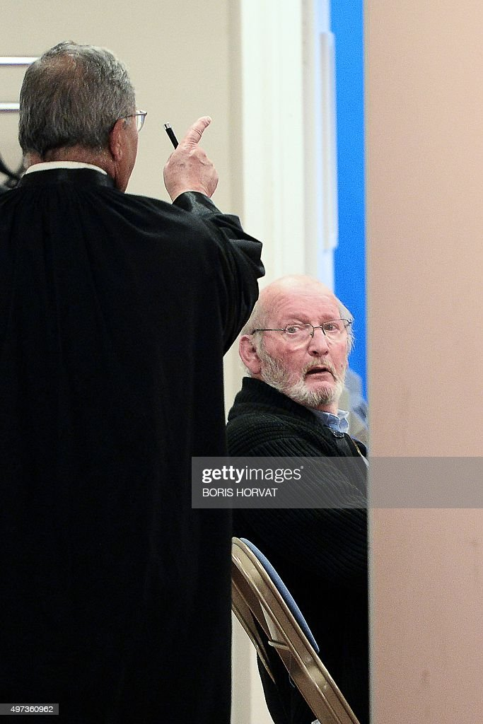 Poly Implant Prothese (PIP) founder Jean-Claude Mas (R) waits in the courthouse on November 16, 2015 in Aix-en-Provence, prior to the start of his appeal trial, after having been sentenced in an initial trial to four years of imprisonment for allegedly selling faulty breast implants that sparked global health fears. PIP company was shut down on March 2010 and its product banned after it was revealed to have been using non-authorised silicone gel that caused abnormally high rupture rates of its implants. AFP PHOTO / BORIS HORVAT