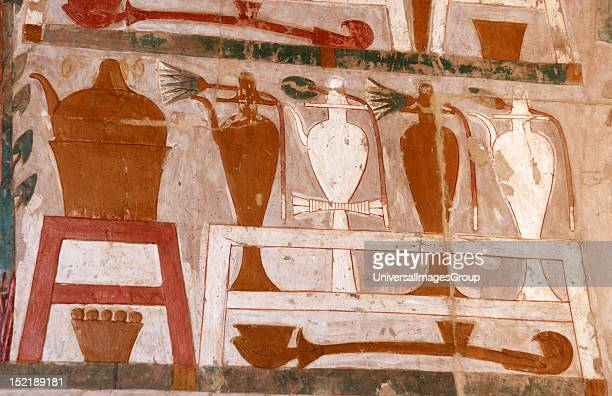 Polychrome limestone reliefs depicting essences and perfumes vessels offering Temple of Hatshepsut Eighteenth Dynasty New Kingdom Egypt