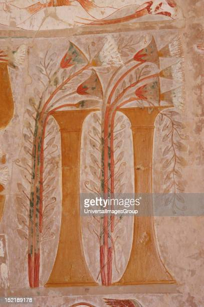 Polychrome limestone reliefs depicting offerings to the gods Papyrus flowers Temple of Hatshepsut Eighteenth Dynasty New Kingdom Egypt