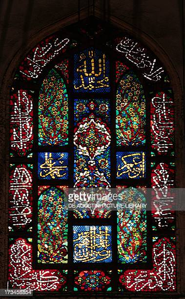 Polychrome stained glass window Suleymaniye Mosque Istanbul Turkey