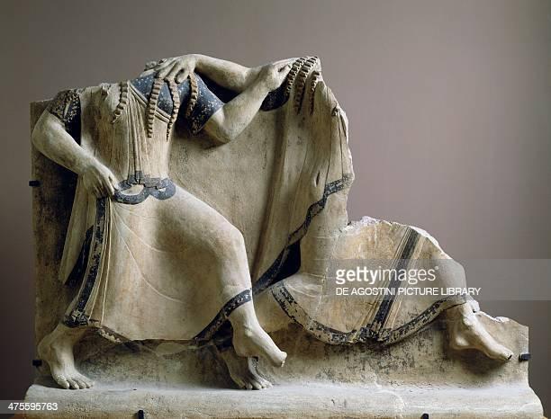 Polychrome terracotta plate with figures of dancers from Calabria MagnoGrecian civilisation 6th century BC Reggio Di Calabria Museo Nazionale Della...