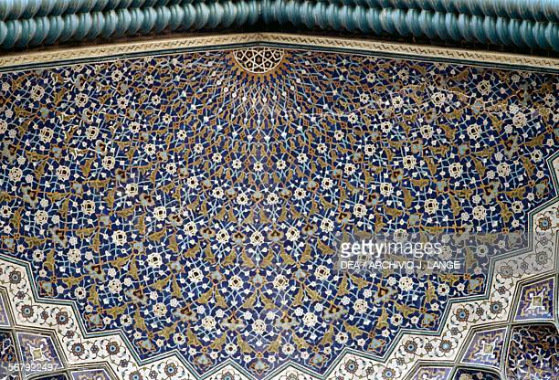 Polychrome tile decoration entrance to the Shah mosque Isfahan Iran 17th century
