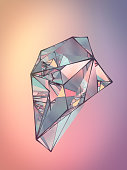 Polygonal shiny crystal on colored backdrop. Abstract background for your design. 3d rendering