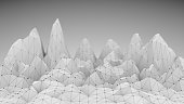 Low poly mountains landscape. Polygonal shapes peaks. 3d illustration. Polygonal mosaic background