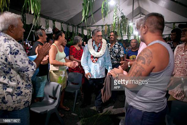 Polynesian politician Oscar Temaru is welcomed by supporters during a meeting of the political coalition Union pour la Democratie on April 17 in...