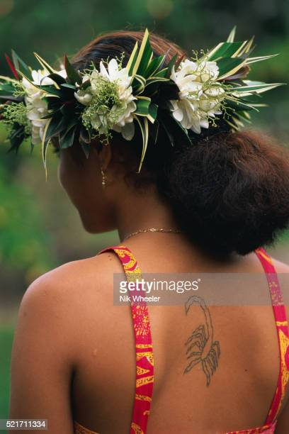 Polynesian Woman with Tattoo on Back