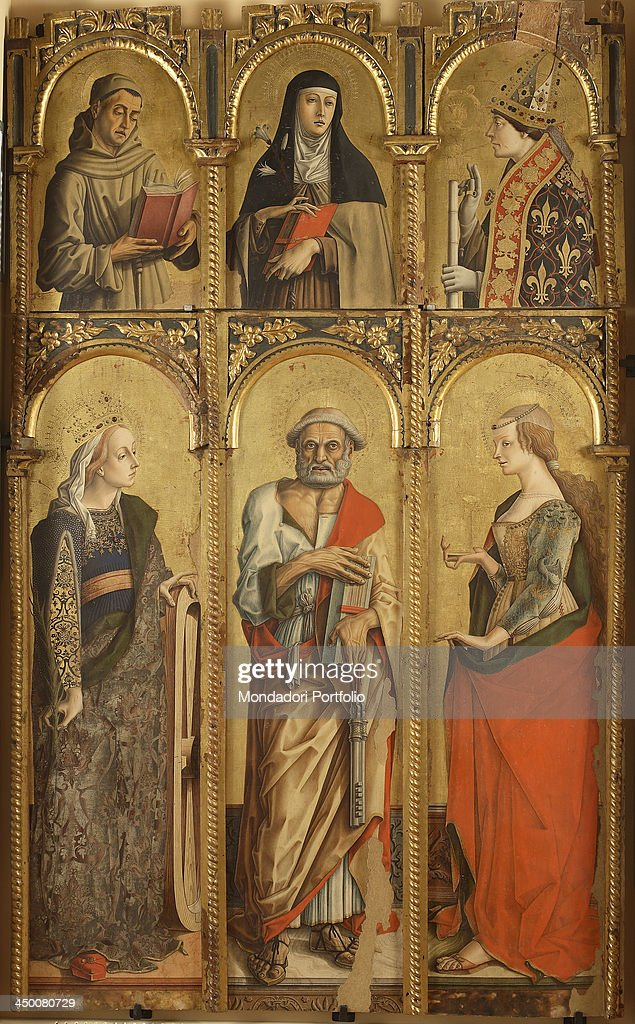 Polyptyc of Montefiore dell'Aso. Saint Catherine, Saint Peter, Saint <a gi-track='captionPersonalityLinkClicked' href=/galleries/search?phrase=Mary+Magdalene&family=editorial&specificpeople=230525 ng-click='$event.stopPropagation()'>Mary Magdalene</a>, a Franciscan Saint, Saint Chiara, Saint Louis of Toulouse, by <a gi-track='captionPersonalityLinkClicked' href=/galleries/search?phrase=Carlo+Crivelli&family=editorial&specificpeople=6378776 ng-click='$event.stopPropagation()'>Carlo Crivelli</a>, 1475, 15th Century, tempera and gold on board.