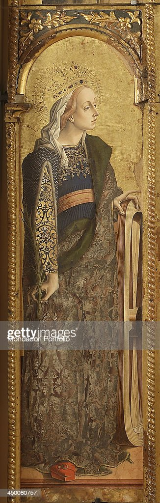 Polyptyc of Montefiore dell'Aso. Saint Catherine, Saint Peter, Saint Mary Magdalena, a Franciscan Saint, Saint Chiara, Saint Louis of Toulouse, by <a gi-track='captionPersonalityLinkClicked' href=/galleries/search?phrase=Carlo+Crivelli&family=editorial&specificpeople=6378776 ng-click='$event.stopPropagation()'>Carlo Crivelli</a>, 1475, 15th Century, tempera and gold on board.