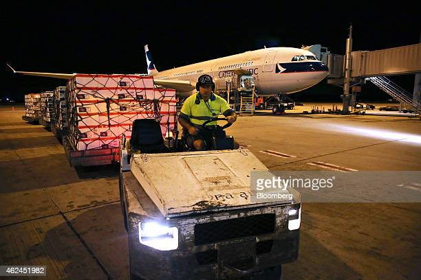 Polystyrene boxes filled with live rock lobsters are driven onto the tarmac to be loaded into the cargo hold of a Cathay Pacific Airways Ltd aircraft...