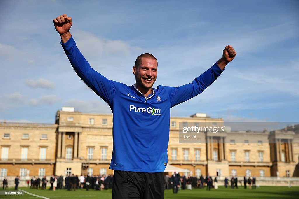 Polytechnic FC scorer Bojan Jelovac celebrates at the end of the match after scoring the opening goal as Prince William, Duke of Cambridge in his role as The President of The Football Association attends the first ever football match at Buckingham Palace between Civil Service FC and Polytechnic FC as part of The FA's 150th anniversary and an awards ceremony celebrating football's grassroots heroes at Buckingham Palace on October 7, 2013 in London, England.