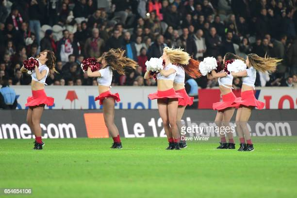 Pom Pom Girls before the Ligue 1 match between Lille OSC and Olympique de Marseille at Stade Pierre Mauroy on March 17 2017 in Lille France