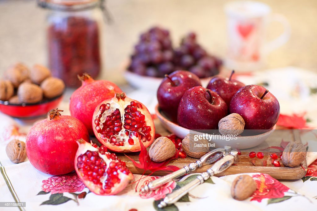 Pomegranate and Red Apples : Stock Photo