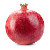 Pomegranate. Fresh raw fruit isolated on white background. With clipping path. Full depth of field.