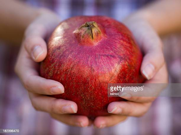 Pomegranate in young woman's hands