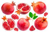 Pomegranate isolated. Group of pomegranates isolated on white background