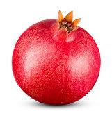 Whole pomegranate isolated on white background