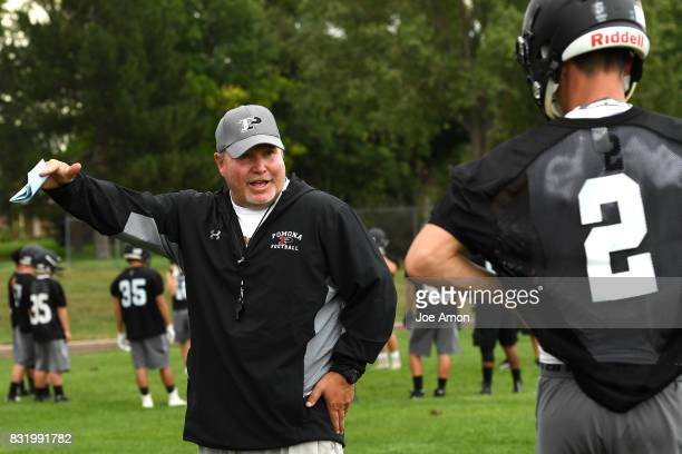Pomona head coach Jay Madden talking to his quarterback Ryan Marquez during their practice at Pomona high school in Arvada August 14 2017 Arvada...