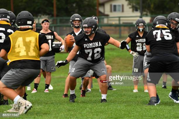 Pomona offensive line protecting quarterback Ryan Marquez during their practice at Pomona high school in Arvada August 14 2017 Arvada Colorado