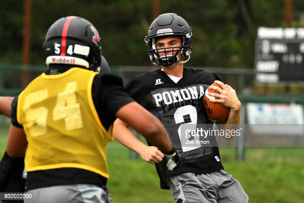 Pomona quarterback Ryan Marquez breaking to the outside during practice at Pomona high school in Arvada August 14 2017 Arvada Colorado