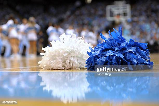 Pompoms are seen on the court during a game between the Georgia Tech Yellow Jackets and the North Carolina Tar Heels at the Dean Smith Center on...