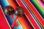 poncho maraca Mexican Mexico Background Mariachi, fiesta serape stripes with copy space