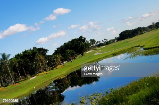Pond in a golf course : Stock Photo