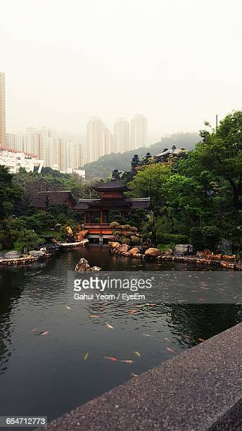 Pond In Nan Lian Garden Against Sky During Foggy Weather