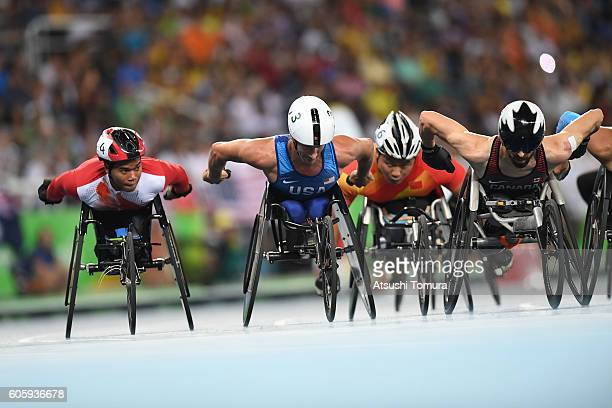 Pongsakorn Paeyo of Thailand Joshua George of the USA and Brent Lakatos of Canada compete in the men's 800m T53 final during on day 8 of the Rio 2016...