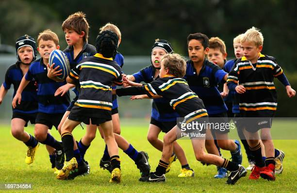 Ponsonby vs Eden eight year old childrens rugby at Cox's Bay Reserve on June 1 2013 in Auckland New Zealand Rugby Union is the unofficial national...