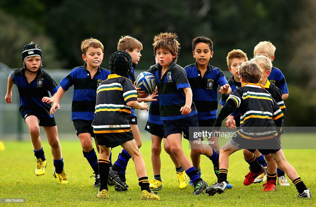 Ponsonby vs Eden eight year old childrens rugby at Cox's Bay Reserve on June 1, 2013 in Auckland, New Zealand. Rugby Union is the unofficial national sport of New Zealand and is often referred to by New Zealanders, as an integral part of their culture.