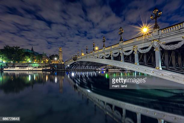 Pont Alexandre III bridge at dusk, Paris, France