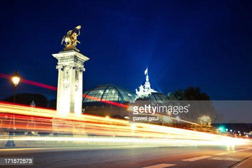 Pont Alexandre III bridge, Paris by night