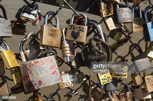 Pont de l'Archeveche bridge, love locks