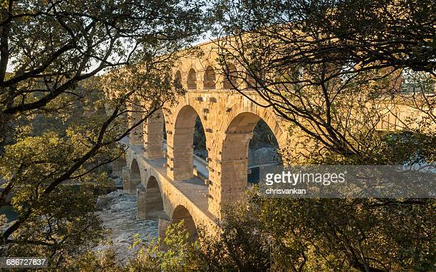 Pont Du Gard aqueduct over  gardon river, France