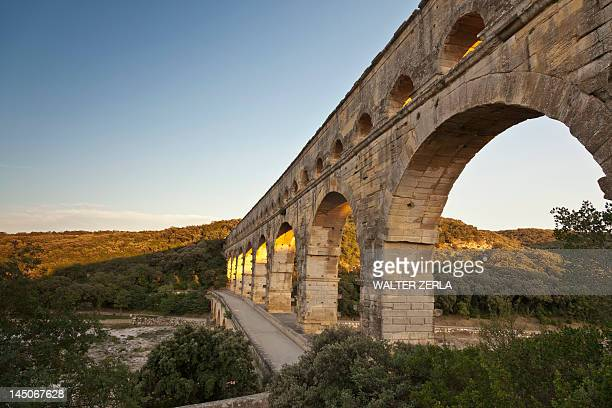 Pont du Gard bridge in rural landscape
