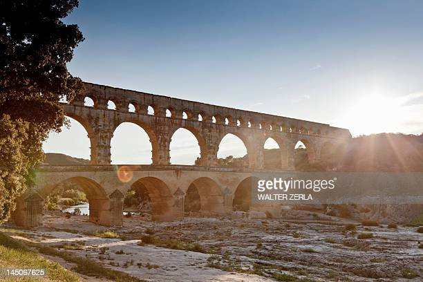 Pont du Gard bridge over river