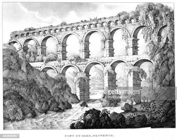 Pont du Gard Nimes southern France 19th century This Roman aqueduct was built in c18 BC No cement was used in its construction