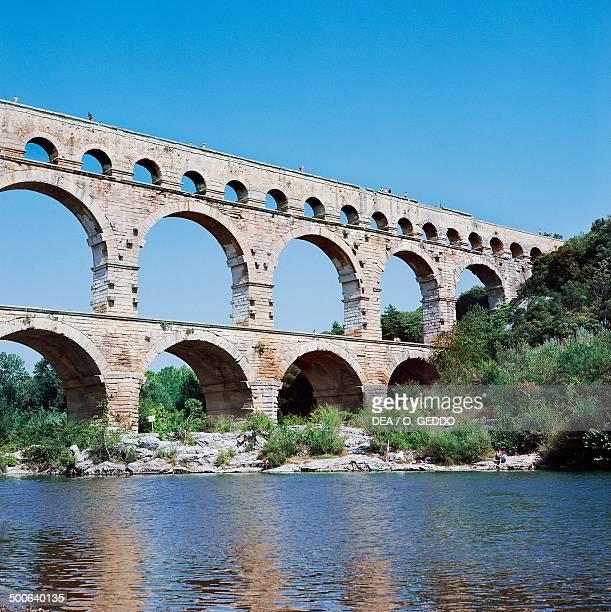 Pont du Gard part of the Nimes Roman aqueduct LanguedocRoussillon France Roman civilisation 1st century BC