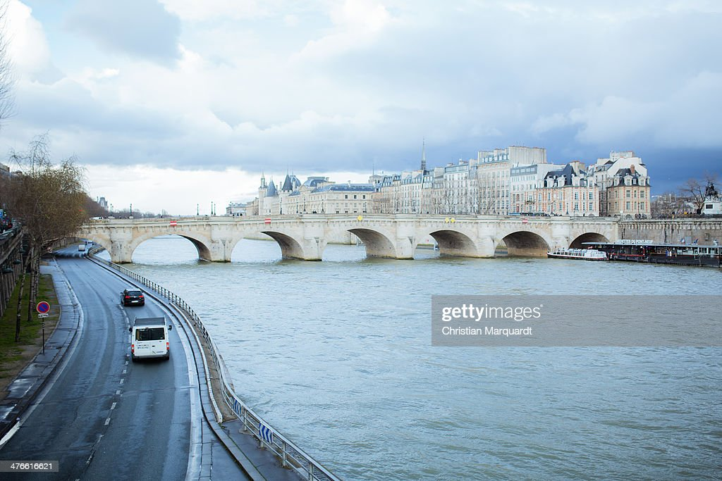 Pont Neuf is pictured during a rainy day on February 28, 2014 in Paris, France.