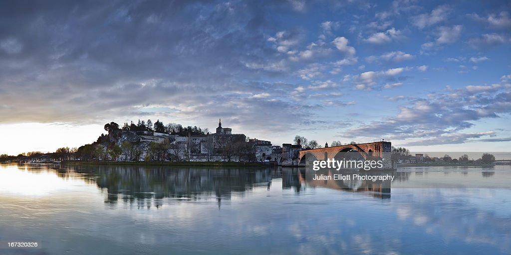 Pont St-Benezet, the Rhone river and Popes Palace.