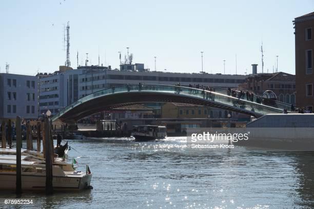 Ponte della Constituzione Bridge and Vaporetto, People, Venice, Italy