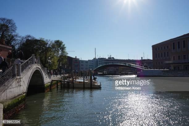 Ponte della Constituzione Bridge in the distance, Calatrava, Venice, Italy