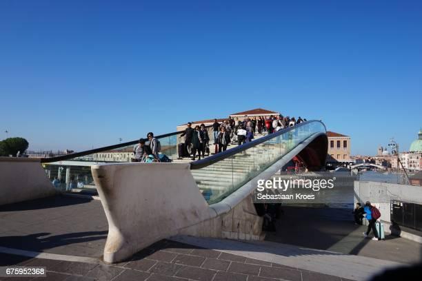 Ponte della Constituzione Bridge with People, Venice, Italy